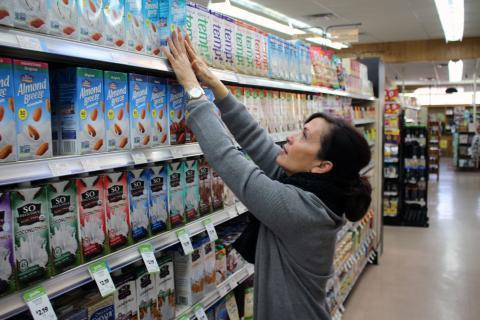 Natural Grocers director of nutrition education Karen Falbo says her chain responded to consumer demand for non-dairy alternatives by stocking shelves with nearly every variety on the market.