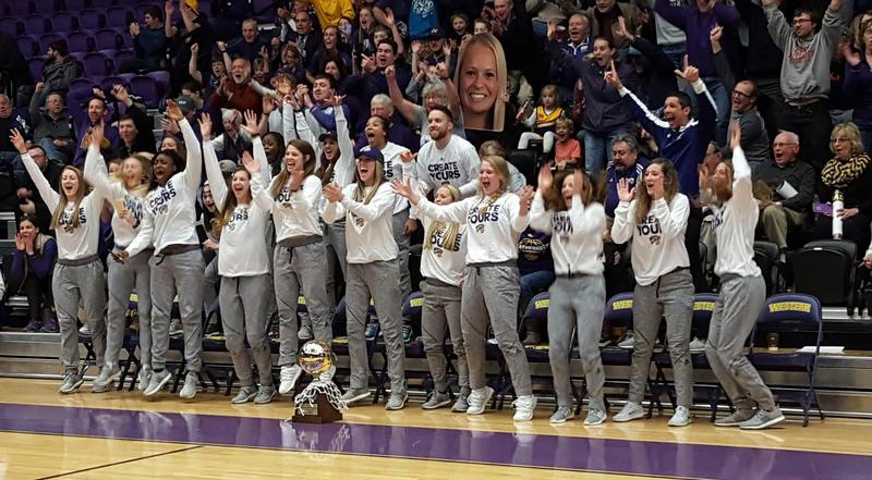 Members of the WIU Women's Basketball team and their fans celebrate after learning where the team is seeded and who they will play in the NCAA Tournament.