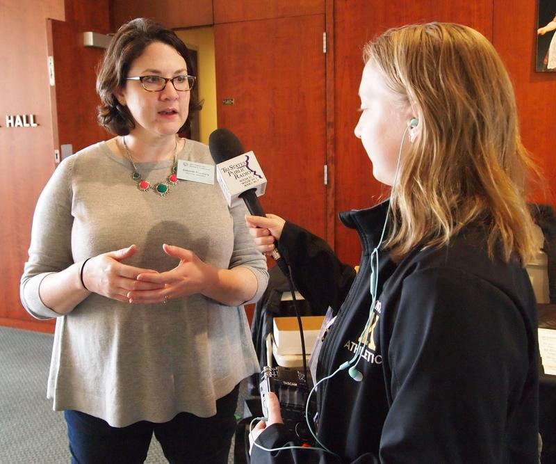 Deborah Steinberg, Director of Campus Sustainability at Knox College, speaking with TSPR's Miranda Corbett.