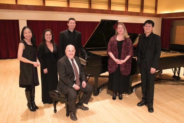 The WIU School of Music's pianists. Left to right: Dr. Liang-yu Wang, Dr. Minjung Seo, Dr. Michael Stryker (seated), Dr. Jeffrey Brown, Dr. Tammie Walker, Po-Chuan Chiang.