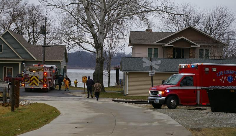 Crews respond to a call on Jan. 3 of a boat capsizing on the Mississippi River with two men aboard near Montrose.