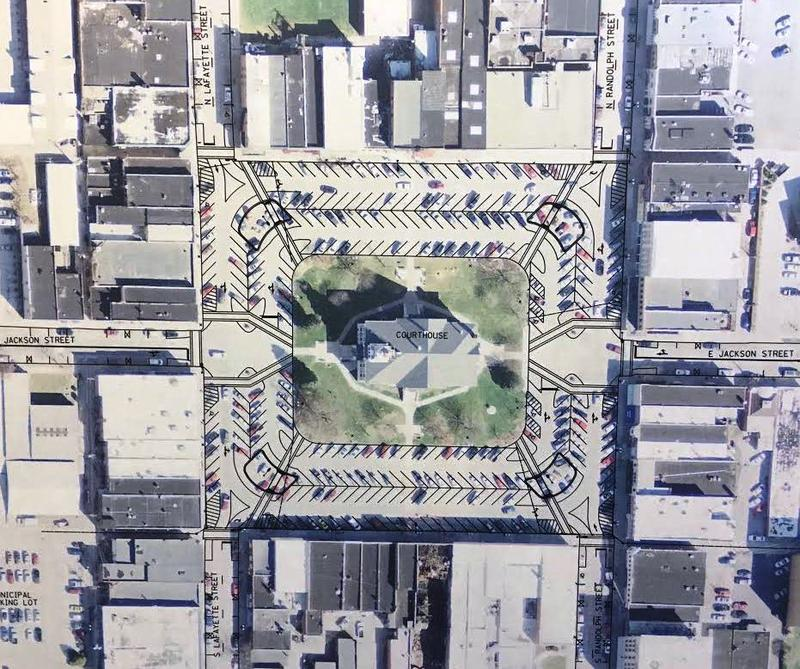 The proposed new design for the Macomb Courthouse Square will add back in a fourth row of parking which was taken out nearly two years ago.
