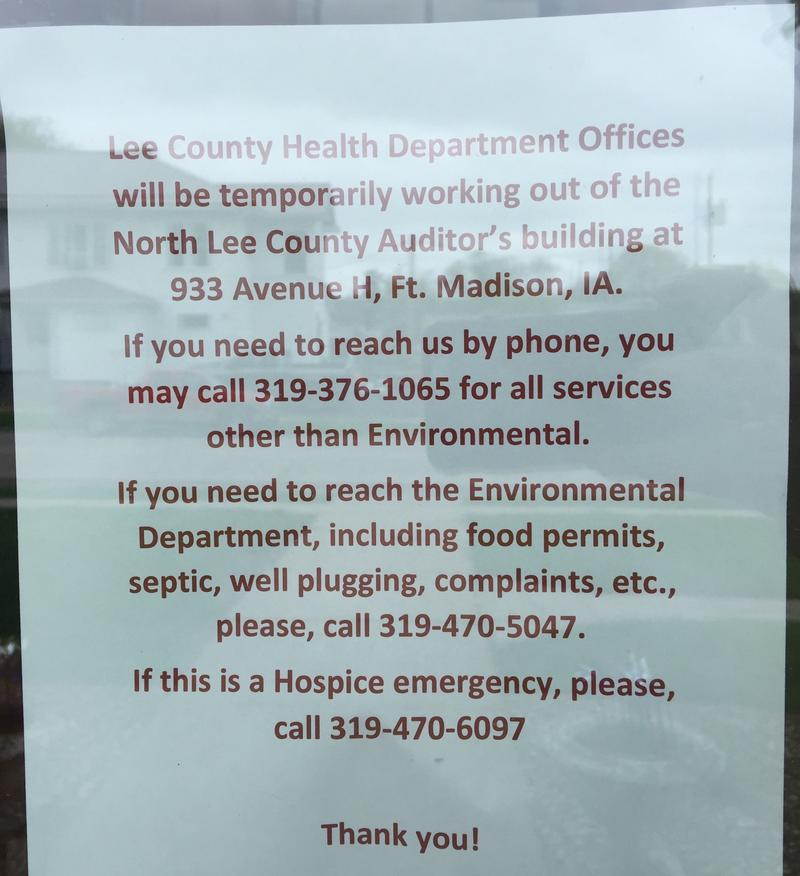 This letter is taped to the front door of the Lee County Health Department's building at 2218 Avenue H in Fort Madison