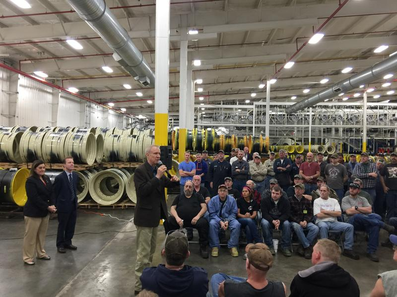 Gov. Bruce Rauner (R-Illinois) spoke to about 100 Titan International employees Wednesday morning in Quincy.