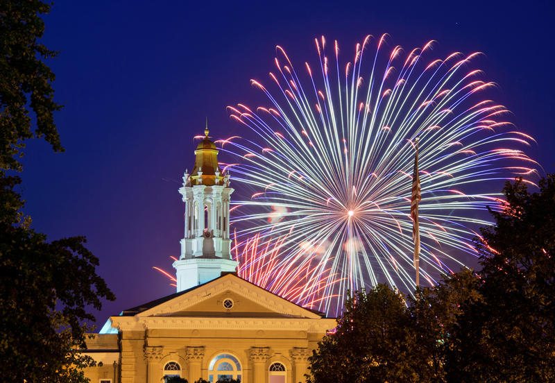 A fireworks display over WIU's Sherman Hall