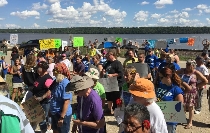 Hundreds of people protested the construction of the Dakota Access crude oil pipeline through Lee County last fall.