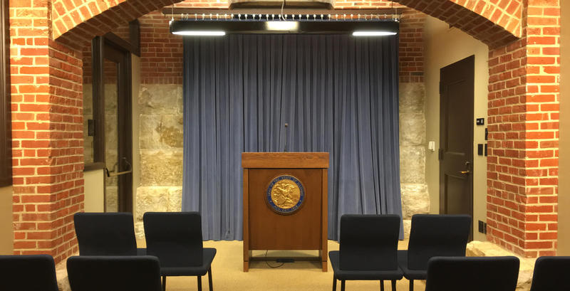 The press briefing room in the Illinois Statehouse.