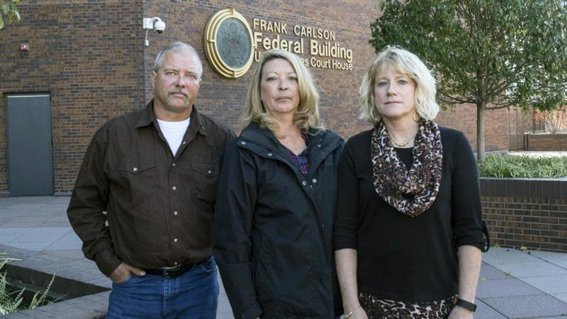 From left: Kevin and Zo Bock and Inga Klahr, family members of those killed in the Atchison grain elevator explosion. The Bocks' son, Chad Roberts, and Klahr's husband, Darrek, were among those killed in the 2011 explosion.
