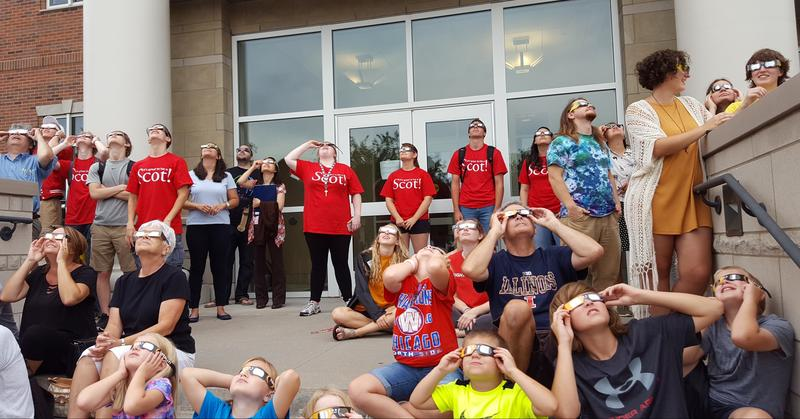 The viewing party at Monmouth College