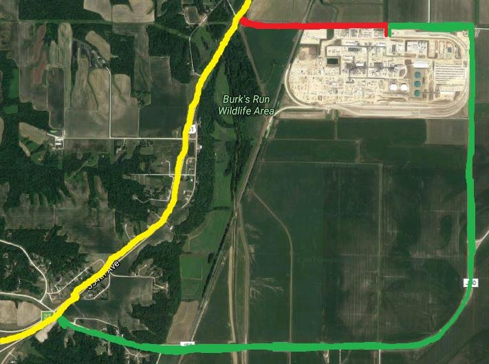 The green line represents IFC's preferred path for truck traffic to reach Highway 61 (yellow). The company would like to prevent truckers from taking the much shorter route along 180th Street (in red).