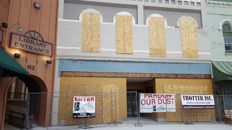 Renovations are underway to the facade of the Buchanan Center for the Arts