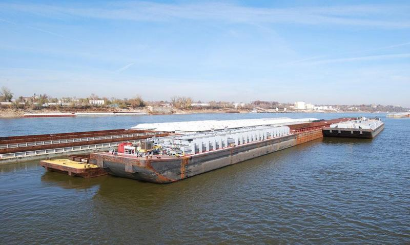 A barge sits in Missouri on the Mississippi River before it heads downstream to the Gulf of Mexico.