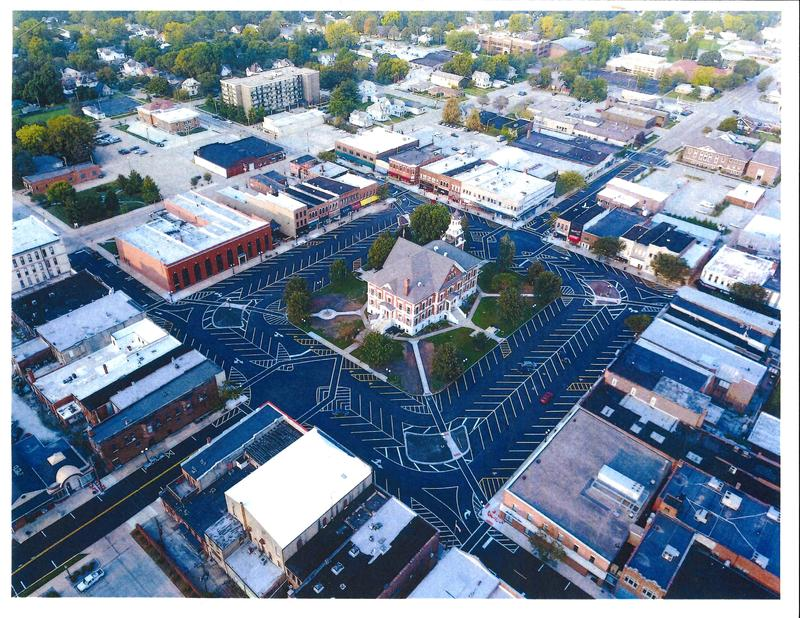 Downtown Macomb photographed by a drone hovering over northeast corner