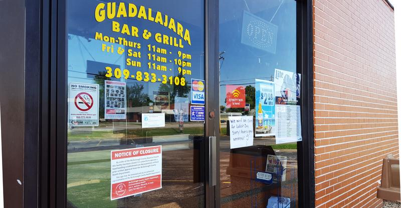 Guadalajara was temporarily closed on Thursday by the McDonough County Health Dept.