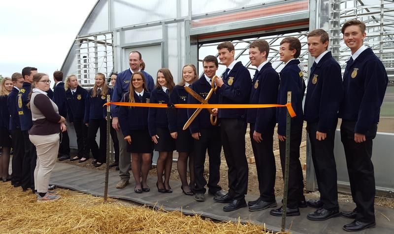 Members of the school's FFA chapter at the ribbon cutting ceremony.