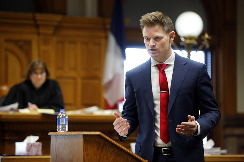 Federal Prosecutor Christopher Perras delivers his 25-minute opening statement to jurors Thursday morning in the murder trial of Jorge Sanders-Galvez, 23 of Missouri.