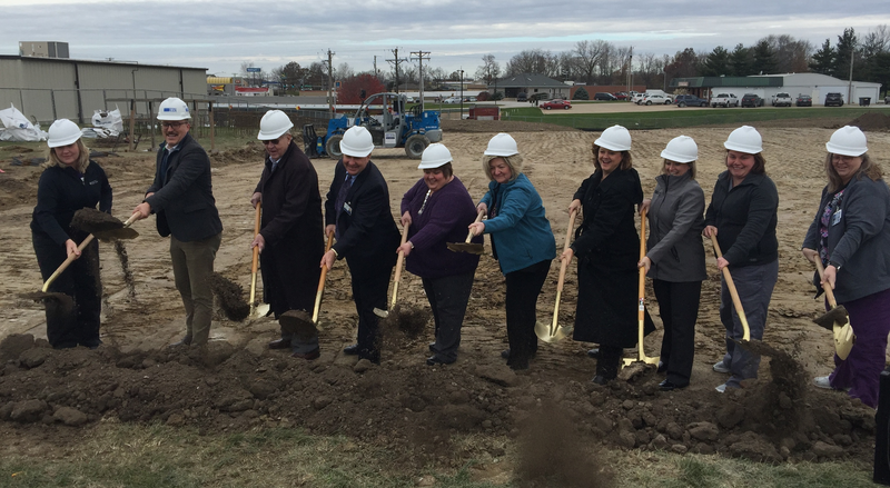 GRHS administrators, board members and employees break ground for the new $7-million health care clinic in Keokuk. It is scheduled to open next fall.
