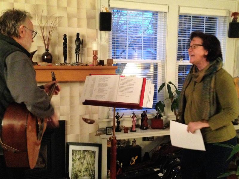"Bill Maakestad and Lysa Fox rehearsing for ""When Patsy Met Hank"""