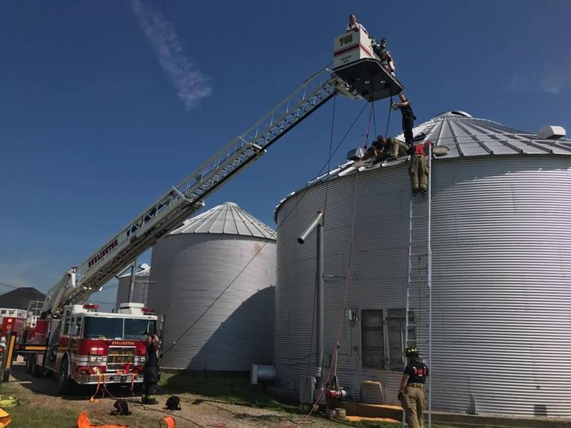 Crews working to rescue a man trapped in a grain bin in Des Moines County Wednesday morning. The man was able to walk away from the scene.