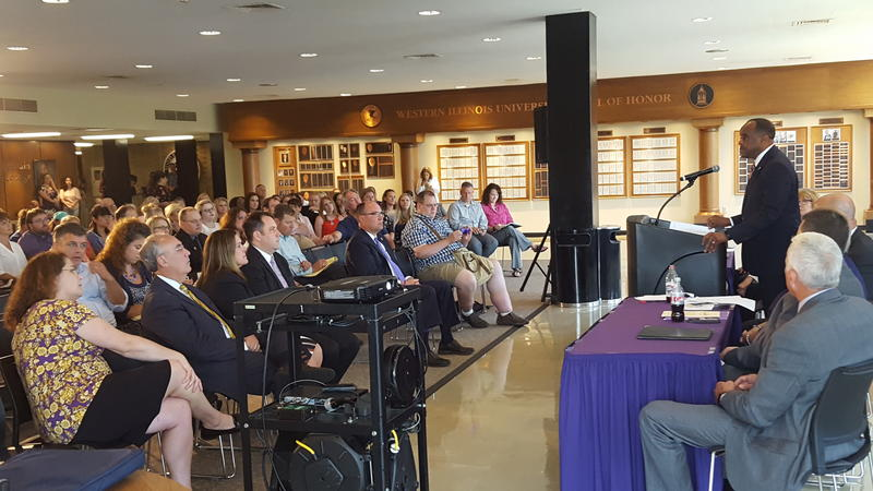 The realignment announcement on WIU's Macomb campus.