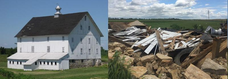 The Galloway Barn: How it looked for 130+ years vs how it looks today.