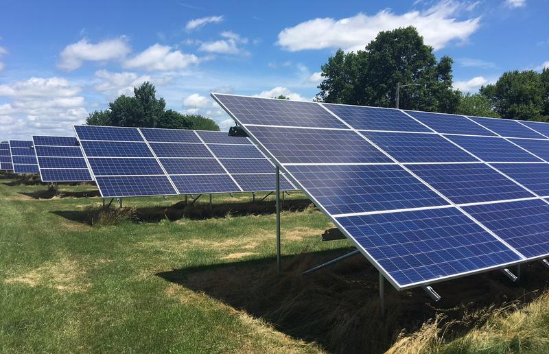 Burlington Notre Dame has added a large solar field, similar to the one above, next to its soccer field.