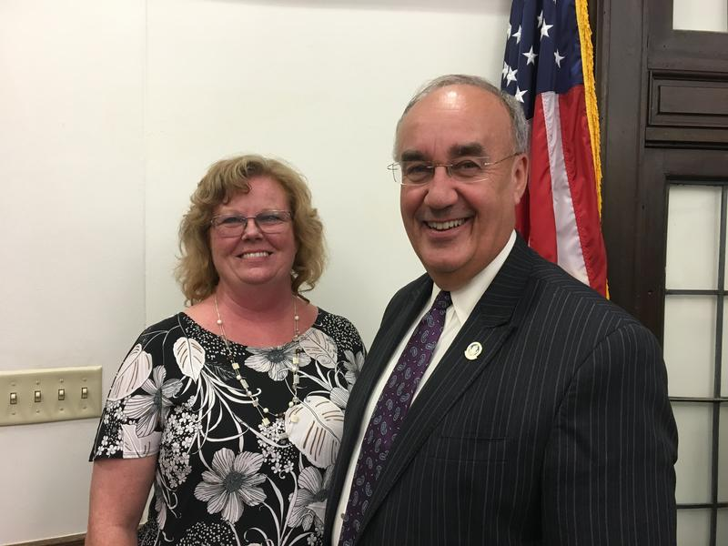 Annette Carper poses with Mayor Mike Inman