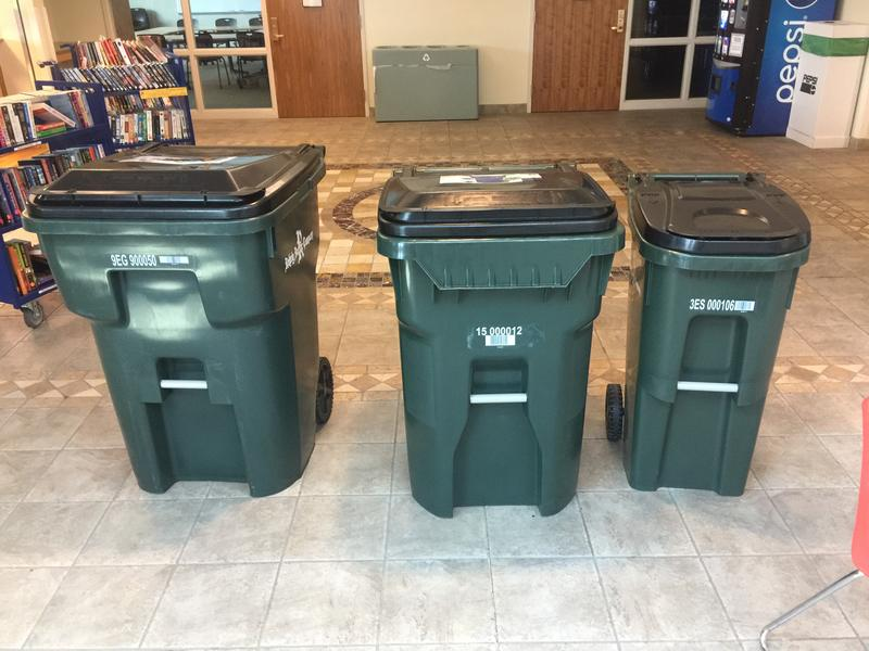 The three options of trash carts that were available to Burlington residents.