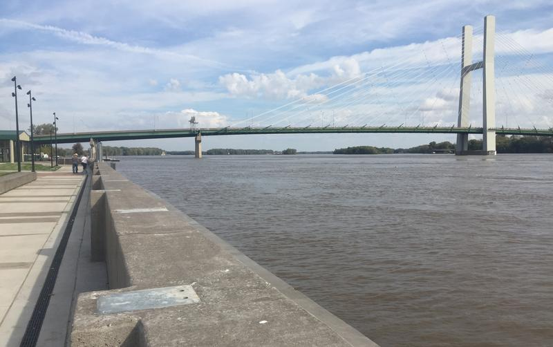 The Mississippi River is pressing up against Burlington's new floodwall.