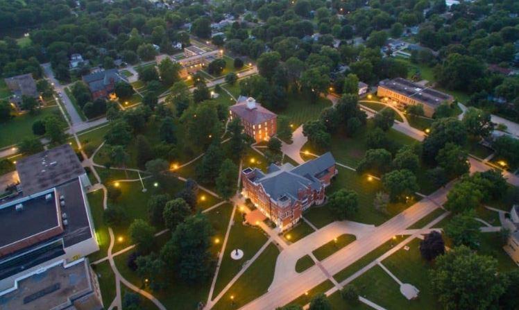The Iowa Wesleyan University campus in Mount Pleasant, Iowa.