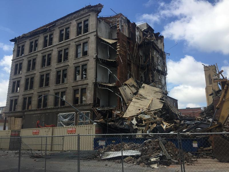 This photo from August shows the damage to the rear portion of the Tama Complex in downtown Burlington