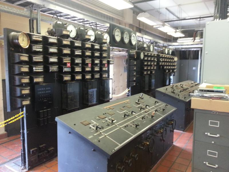 Equipment in the power plant's control room