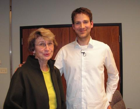 Matthew Walker with Sally Egler, who was one of his teachers in Macomb
