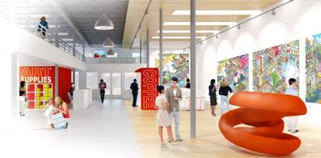 An artist's rendition of the renovated building's interior