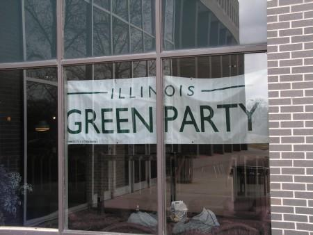 The Green Party banner welcomed party members to WIU