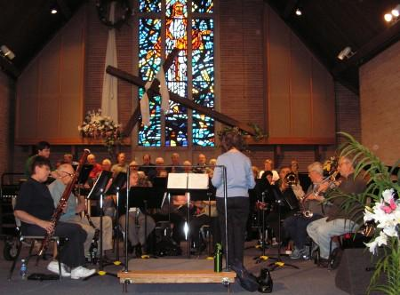 The musicians rehearse the piece