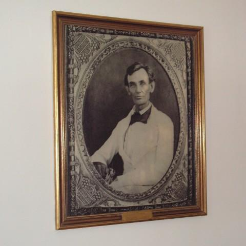 The portrait of Lincoln in a white suit