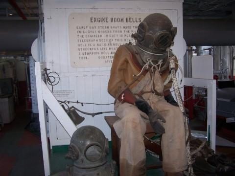 This diving suit is just one of the unique items at the riverboat museum