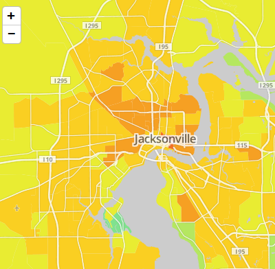 Map Jacksonville Florida.Map New Data On Income Inequality In Jacksonville Wjct News