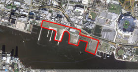 The 40-acre Shipyards, outlined in red on this map, stretch from the famous Maxwell House factory to Metropolitian Park. Over the years there have been many deals to develop the property, but contract disputes and a sluggish economy have caused it to remain empty.
