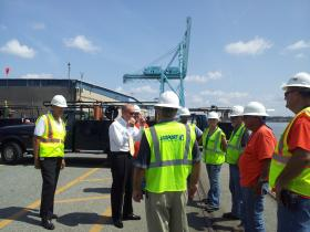 New Jaxport CEO Brian Taylor meets with port employees at the Tallyrand Terminal.