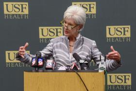 U.S. Health and Human Services Secretary Kathleen Sebelius announces new navigator grant awards at USF Tampa.