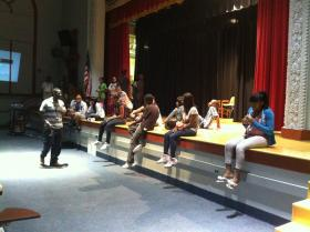 Lawrence Nelson teaching his S-O-S 9th Grade Transition Class at Andrew Jackson High School.