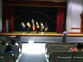 """9th grade students jump Mr. Nelson's """"rope of life"""" at Andrew Jackson High School."""