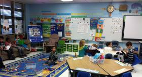 Reading time in Michele DeLoach's first grade class at Mayport Elementary School.