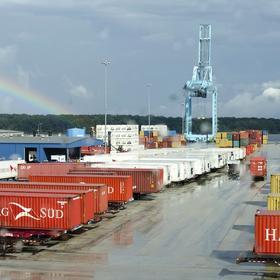 Rain falls over the Jacksonville Port Authority, Oct. 7, 2013.