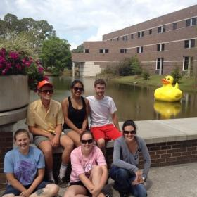 Sgt. Quackers, background right, and company at UNF.