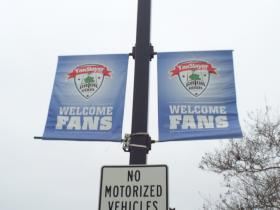 The signs are up on Gator Bowl Avenue welcoming fans to the game.