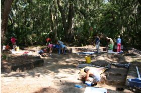 Volunteers and students from the University of North Florida (UNF) work to expose the mission site of Santa Cruz y San Buenaventura de Gaudalquini, one of the sites described in Jax MOSH's new exhibit.