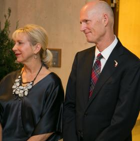 Governor Rick Scott and First Lady Ann Scott at the annual Florida State Capitol Christmas tree lighting ceremony, Dec. 10, 2013.
